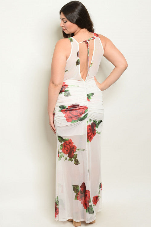 IVORY WITH ROSE PRINT PLUS SIZE DRESS
