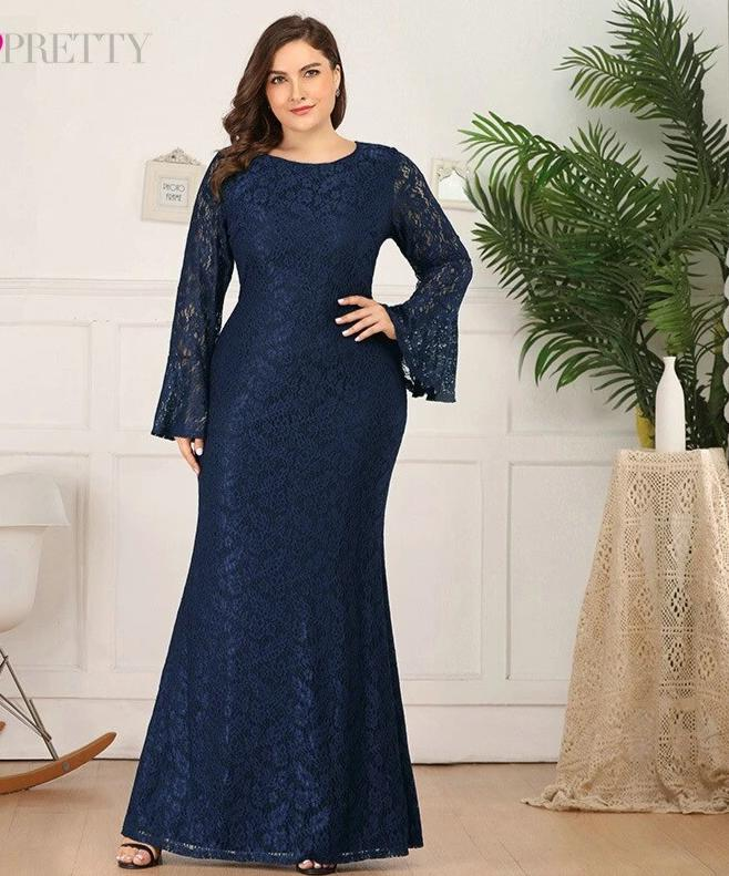 Plus Size Lace Long Flare Sleeve O-Neck Ruffles Mermaid Dress