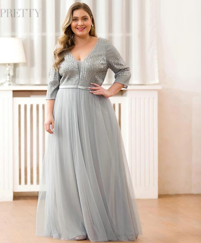 Plus Size Grey Deep V-Neck A-Line 3/4 Sleeve Sequined Tulle Party Dresses