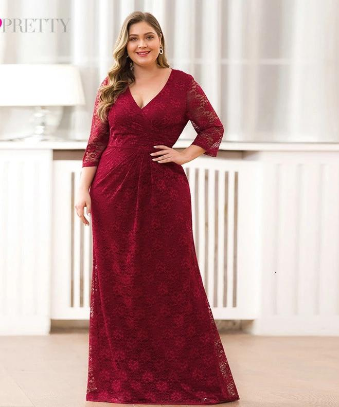 V-Neck 3/4 Sleeve Plus Size Lace Mermaid Long Prom Dresses