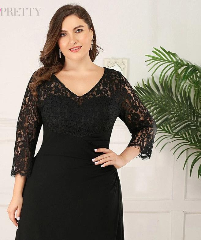 A-Line V-Neck 3/4 Sleeve Plus Size Lace Mother Of The Bride Dresses