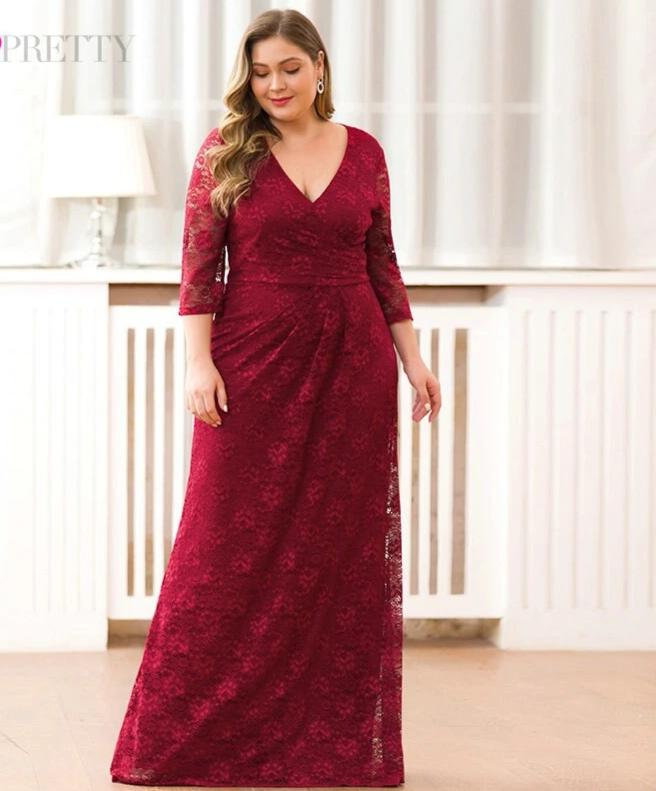 Mermaid Half Sleeve Full Lace Plus size Burgundy Dress