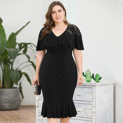 Plus Size Black Lace V-Neck Ruffles Short Sleeve Knee-Length Draped Mermaid Party Cocktail Dresses