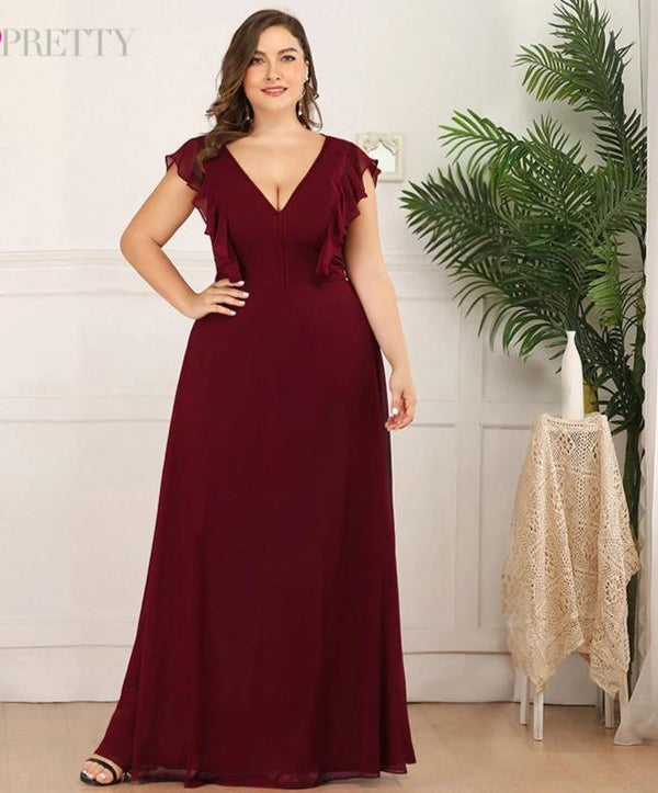 Burgundy Bridesmaid A-line Ruffles Sleeveless V-Neck Plus Size Dresses