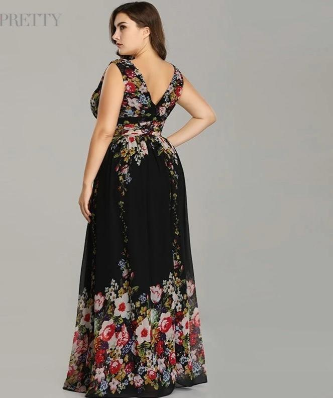 Plus size Sexy Double V-neck Sleeveless Black Long Flower Print Chiffon Formal Evening Dress