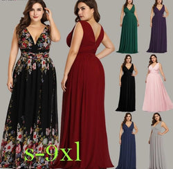 Long Elegant Printed A-line V-neck Chiffon Sleeveless Plus Size Prom Dresses