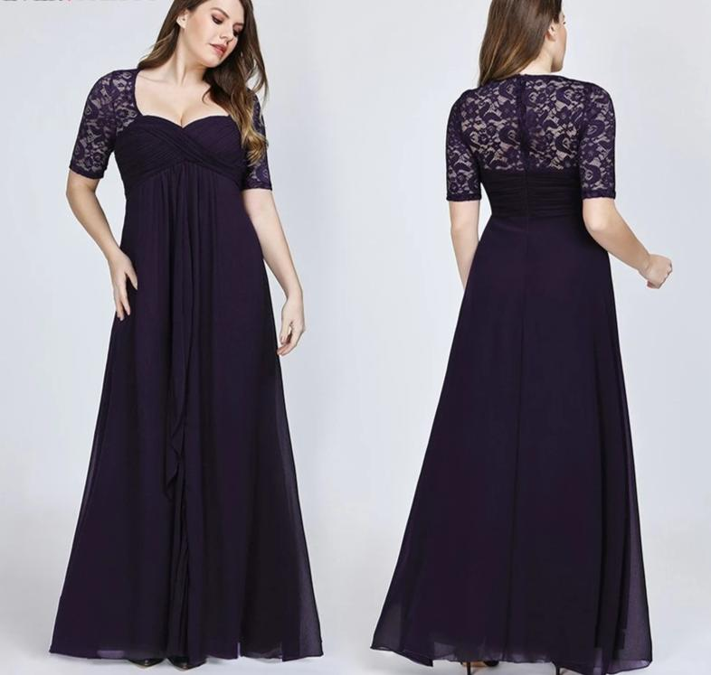 Plus Size  Short Sleeve Lace Back Navy Blue Sexy Chiffon Long Wedding Guest Dresses