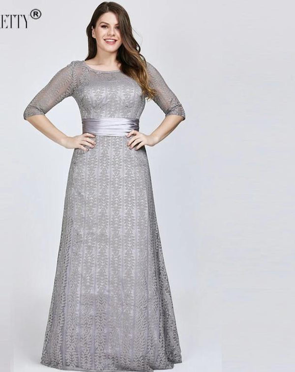 A-line Lace Half Sleeve Elegant Plus Size Evening Formal Long Dresses