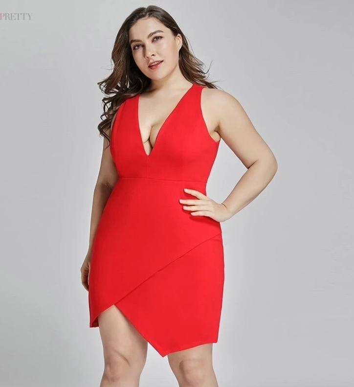 Plus Size Red Gown Short Split Backless Sexy Cocktail Dresses