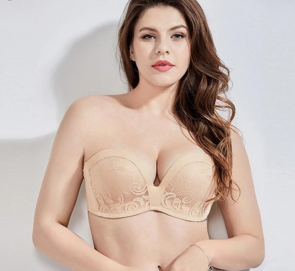 Women's Slightly Padded Push Up Lace Great Support Strapless Bra