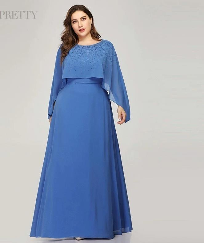 Blue A-Line O-Neck With Jacket Plus Size Mother Of The Bride Dresses
