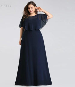 Plus Size Navy Blue A-line Chiffon Long Mother of the Bride Dresses