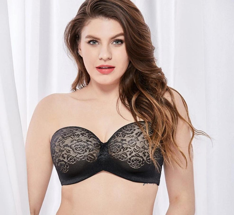 Women's Plu Size Underwire Padded Lift Seamless Lace Multiway Strapless Bra