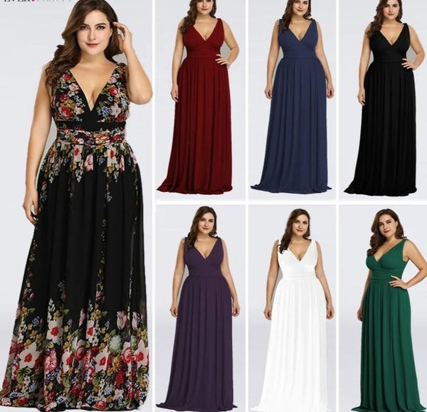 Elegant A Line V Neck Backless Long Chiffon Plus Size Bridesmaid Dresses