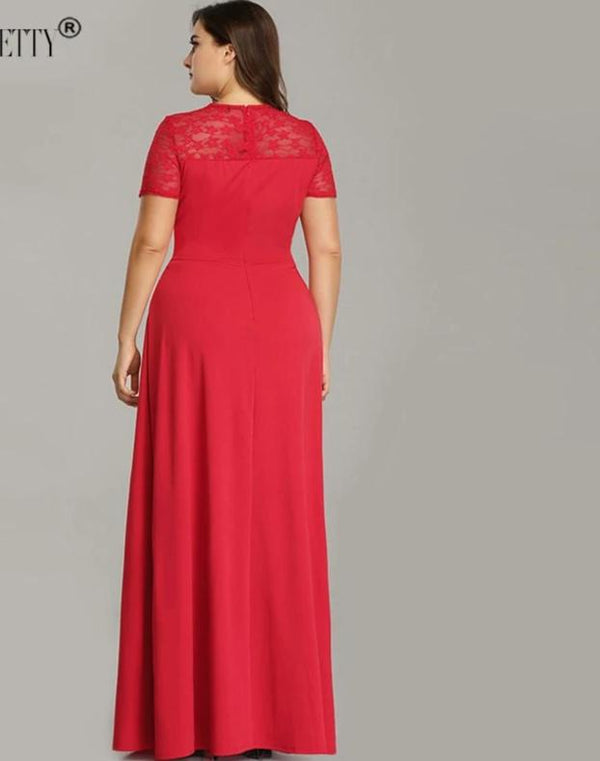 A Line V Neck Long Plus Size Evening Dresses With Sleeve
