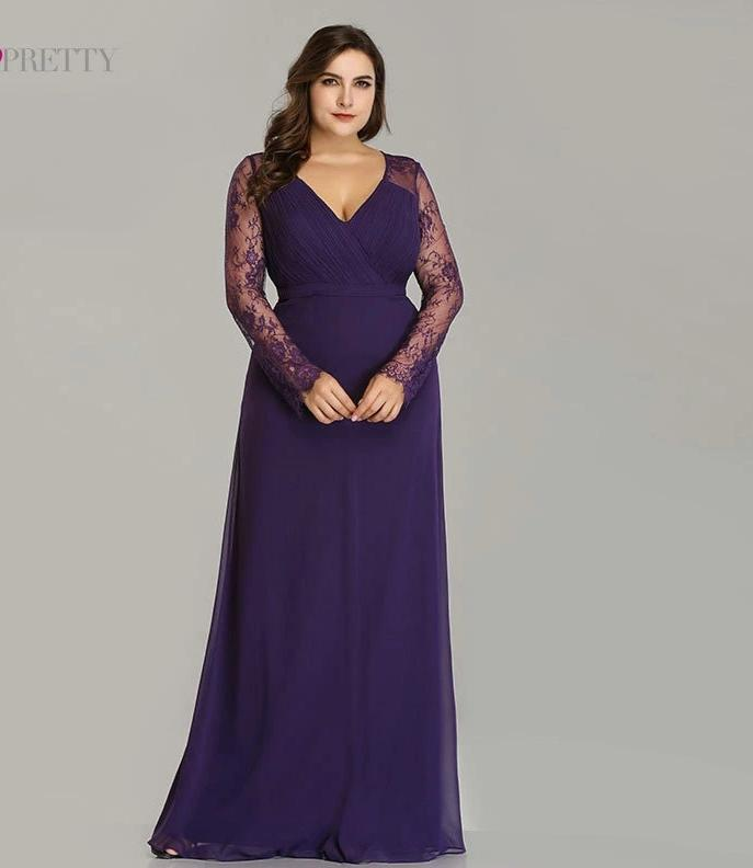 Purple Long Sleeve Lace A-line Chiffon Long Plus Size Evening Dresses