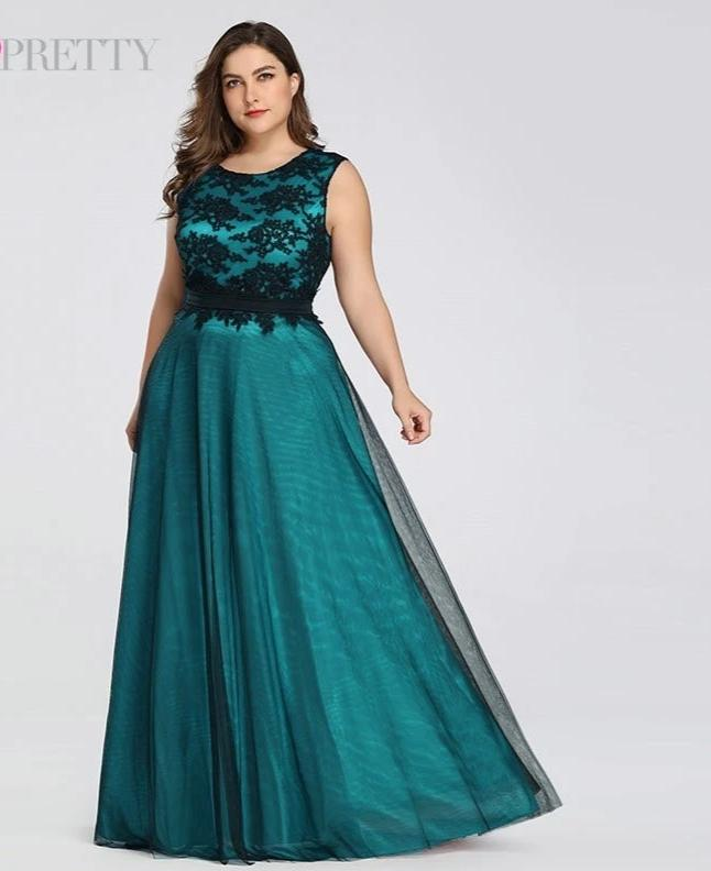 Elegant Burgundy Lace Applique Tulle Plus Size  Prom Dresses
