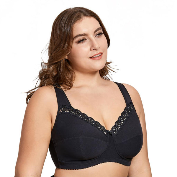 Women's Full Coverage Lace Wireless Non Padded Cotton Bra Plus Size B C D E F H I J