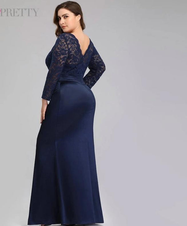 Elegant Lace Long Sleeve Plus Size Evening Mermaid Dresses