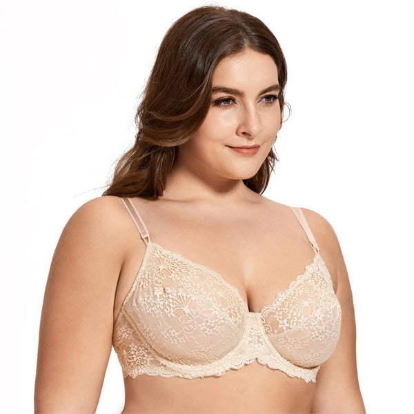 Women's Full Coverage Underwired Non Padding Breathable Balconette Sheer Floral Lace Bra Plus Size