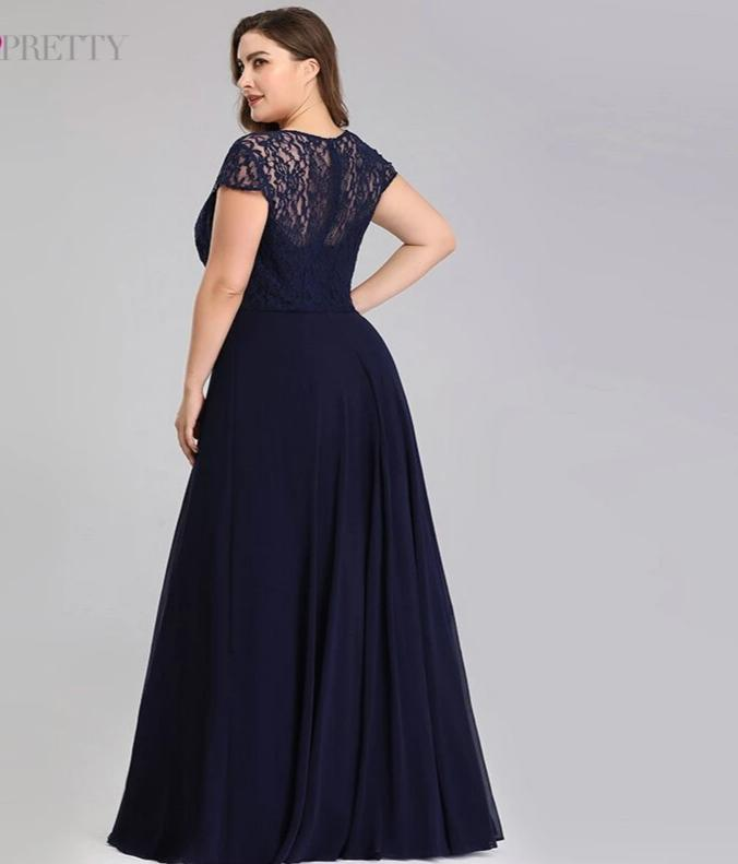 A-Line Cap Sleeve Beaded Navy Blue Lace Evening Plus Size Dresses