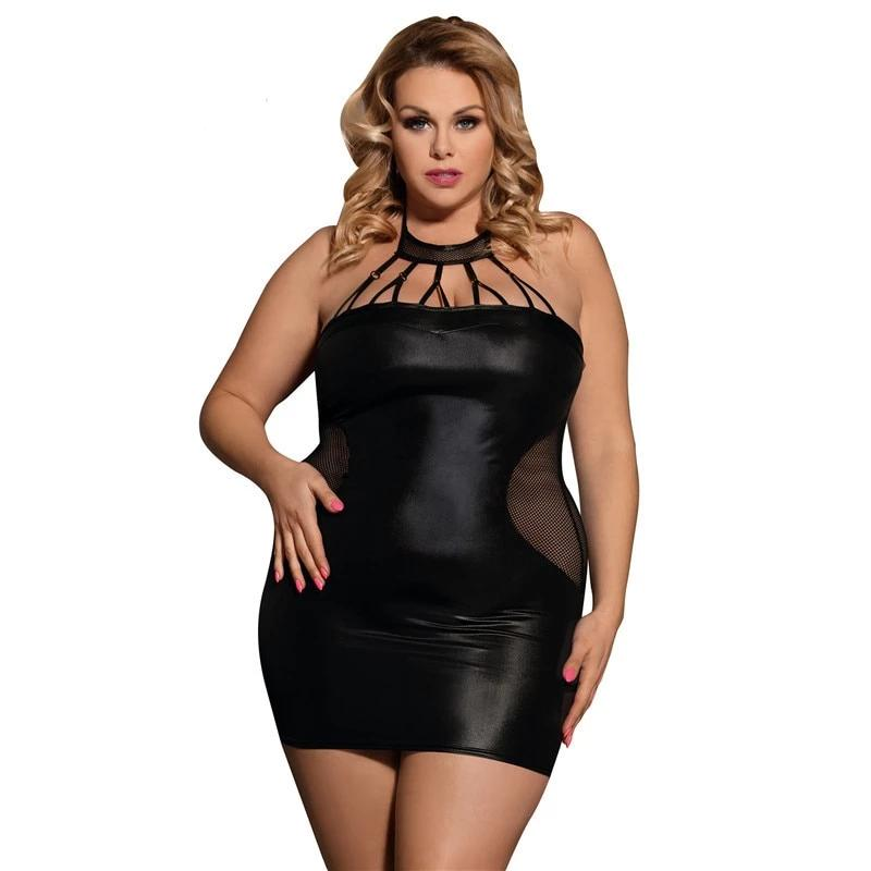 Plus Size Black Faux Leather Lingerie