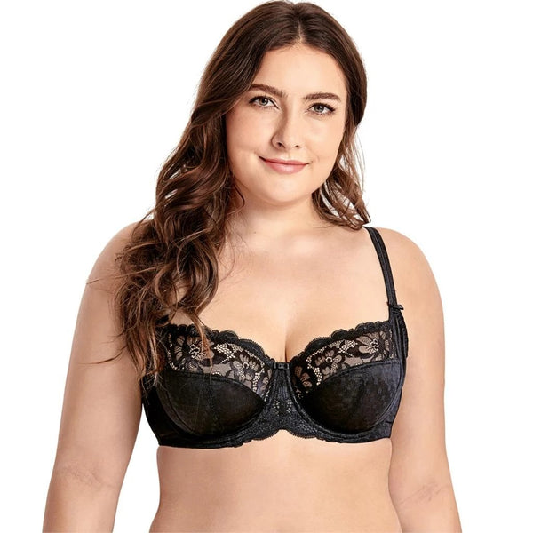 Women's Plus Size Full Coverage Underwire Non-Padded Support Lace Bra