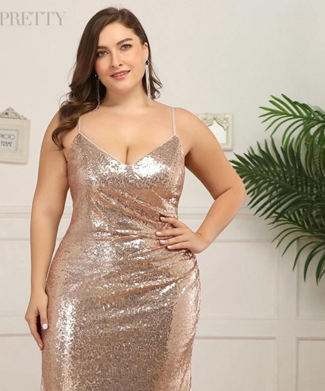 Deep V-Neck Sequined Spaghetti Straps Ruched Mermaid Plus Size Prom Dresses