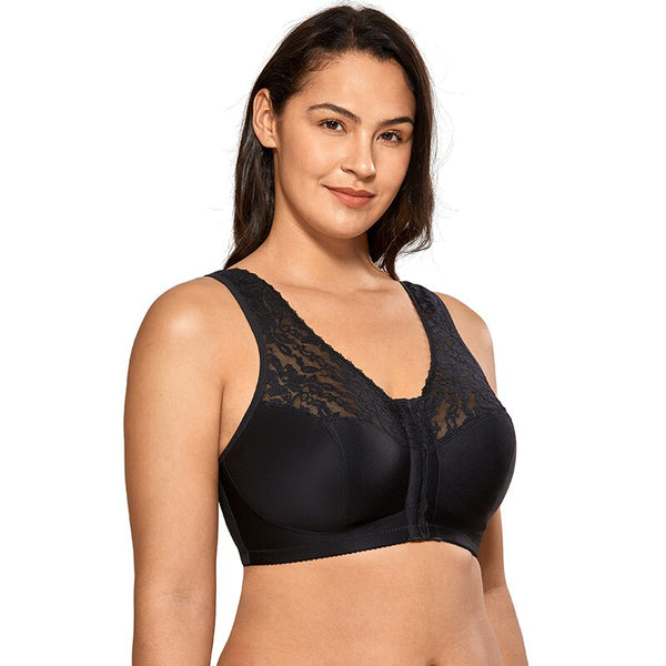 Women's Plus Size Full Coverage Wirefree Lace Front Closure Bra Racerback