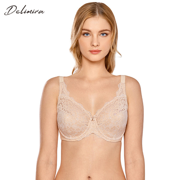 Women's Plus Size Non Padded Full Coverage Underwire Lace Bra