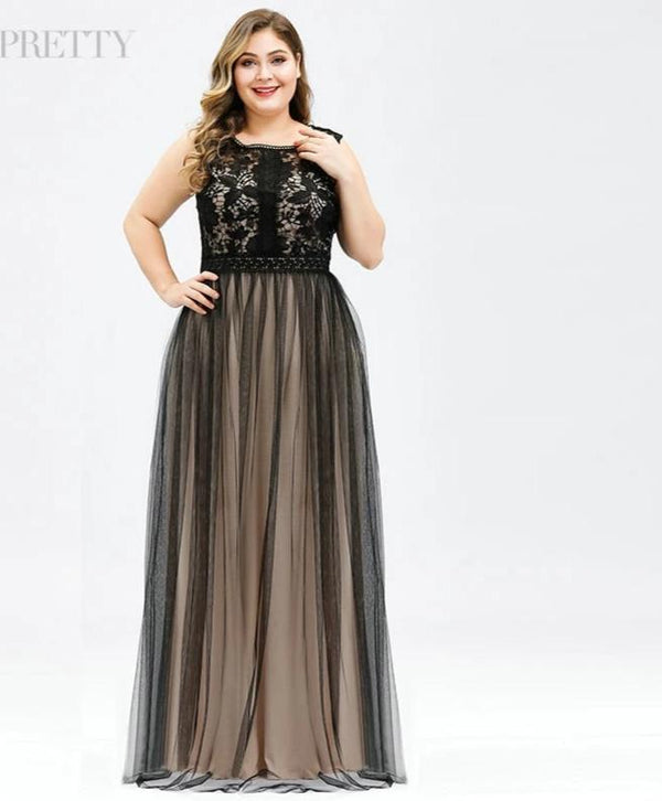 A-Line O-Neck Tulle See-through Plus Size Lace Bridesmaid Dresses