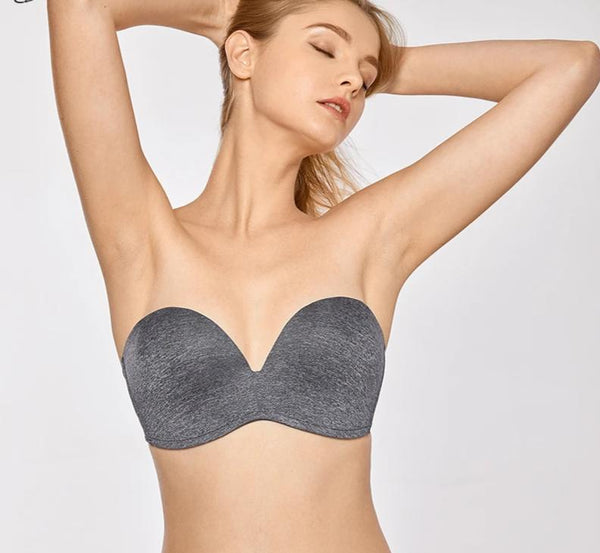 Women's Slightly Lined Lift Support Invisible Seamless Plunge Strapless Bra Plus Size