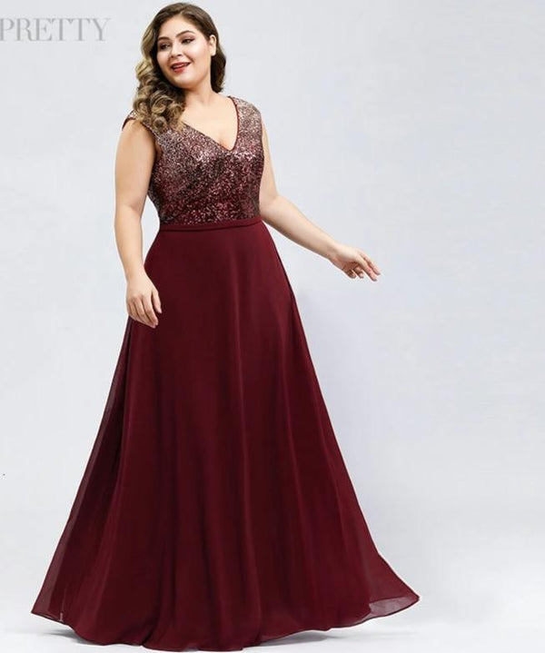 A-Line V-Neck Sequined Chiffon Plus Size Sparkle Evening Dresses