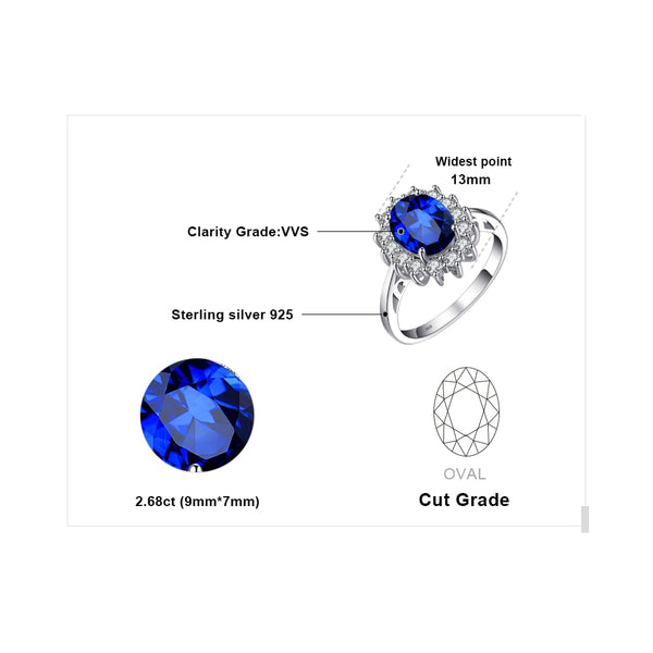 Princess Diana William Kate Middleton's 3.2ct Created Blue Sapphire Engagement Silver Ring For Women