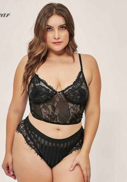 Plus Size New Lace  Floral Embroidery Crop Tops Bra set