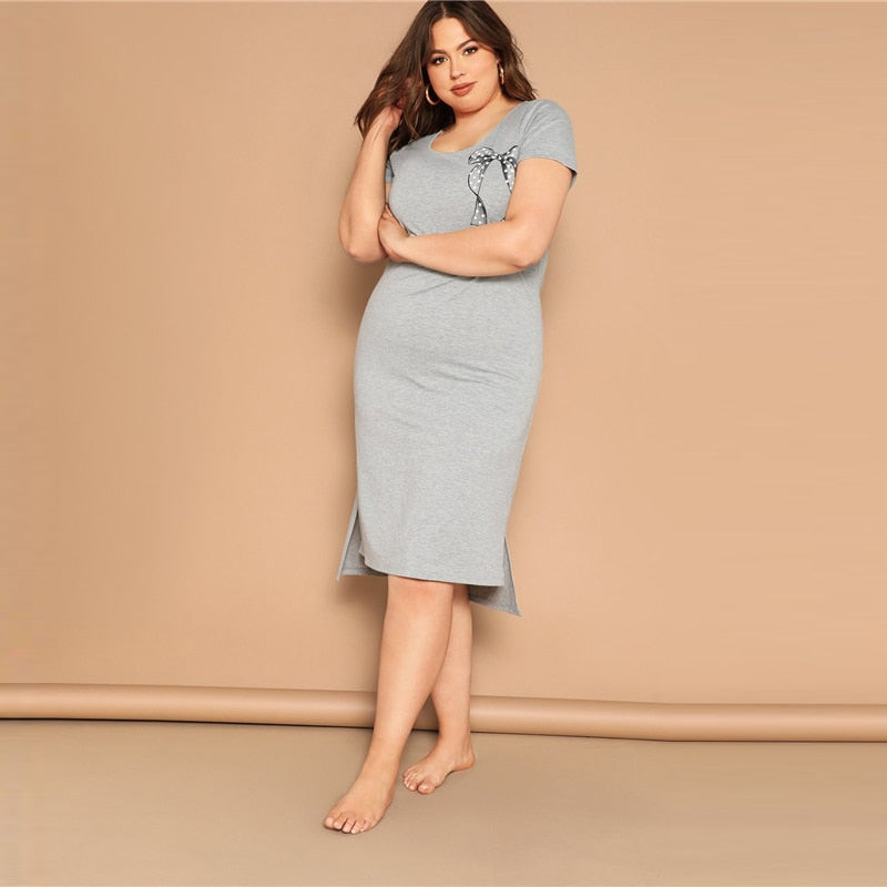Women Summer Casual Split Scoop Neck Big Size Sleepwear Dress