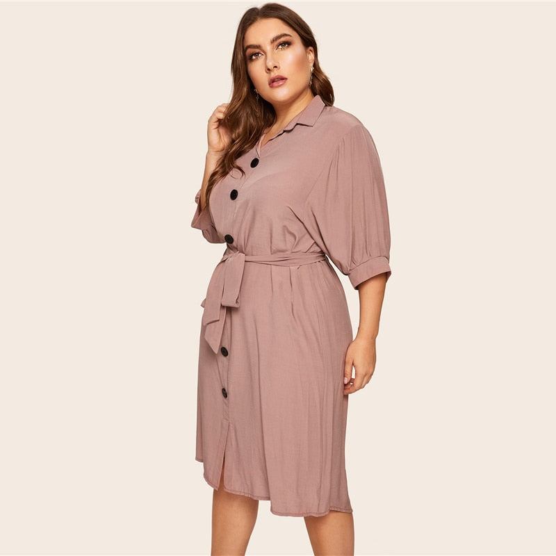 Plus Size Casual Button Detail Shirt Half Sleeve Straight Dress