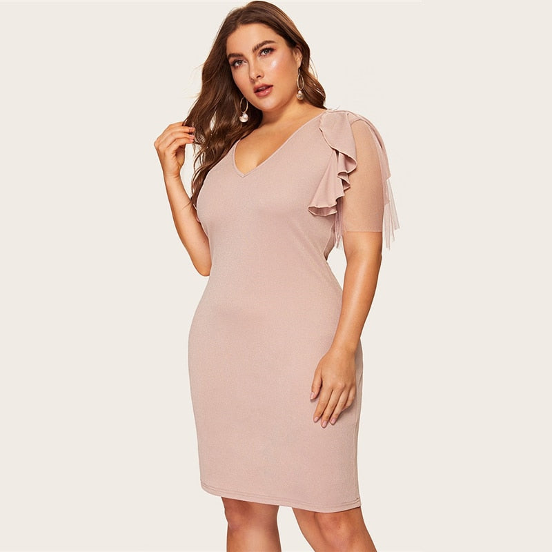 Plus Size Elegant Flounce Sleeve Bodycon Dress