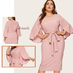 Plus Size Belted Trim Dresses