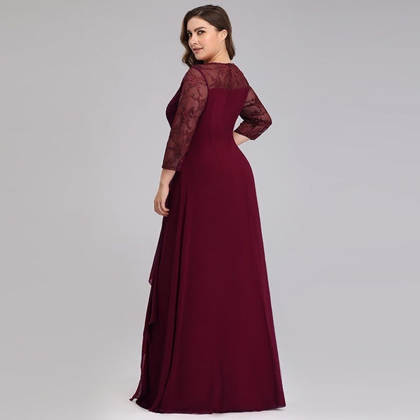 Elegant Lace A-line Chiffon Long Sleeve O-neck Mother of the Bride Dresses
