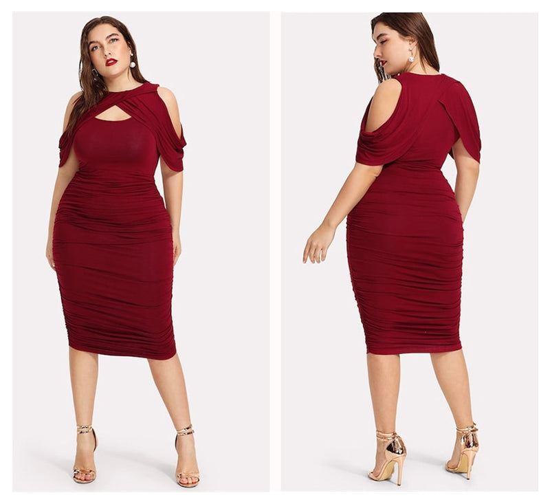 Plus Size Draped Cold Shoulder Ruched Wrap Party  Burgundy Dress