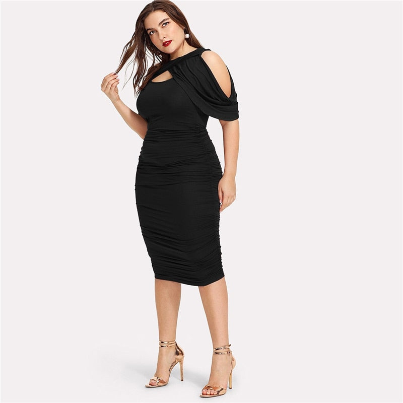 Plus Size Black Draped Cold Shoulder Ruched Wrap Party Dress