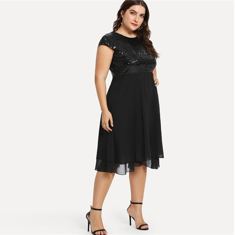 Plus Size Black Solid High Waist Bodice Sexy Sequin Elegant Midi Dresses