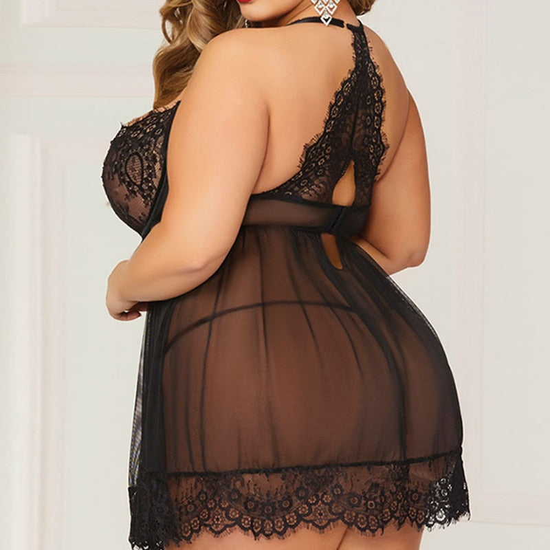 Plus Size Erotic Lace Transparent Halter Female Negligee