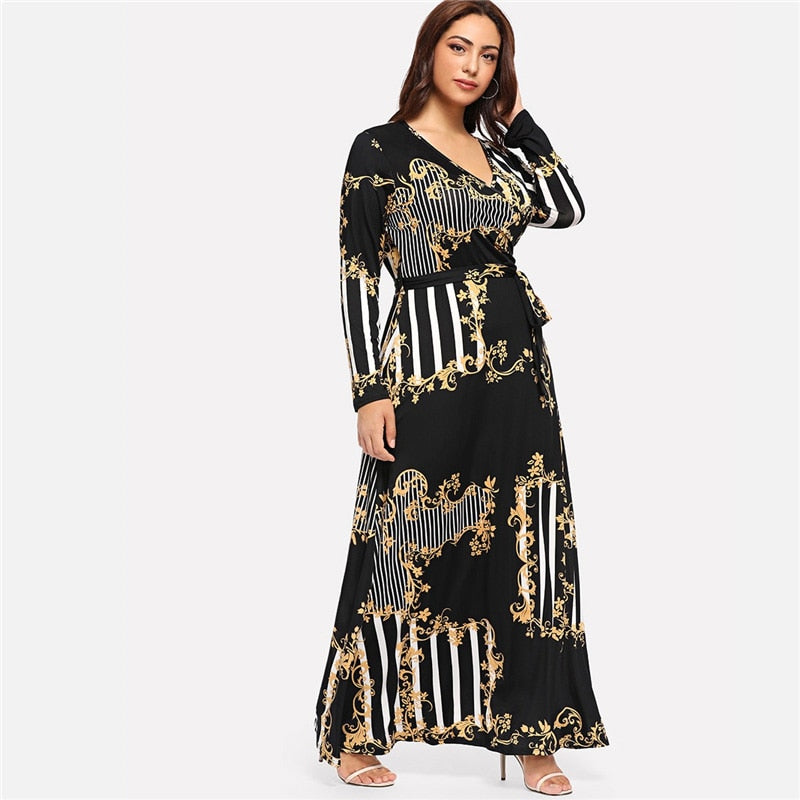 Plus Size Black Mixed Print Striped Long Sleeve A Line High Waist Maxi Dress