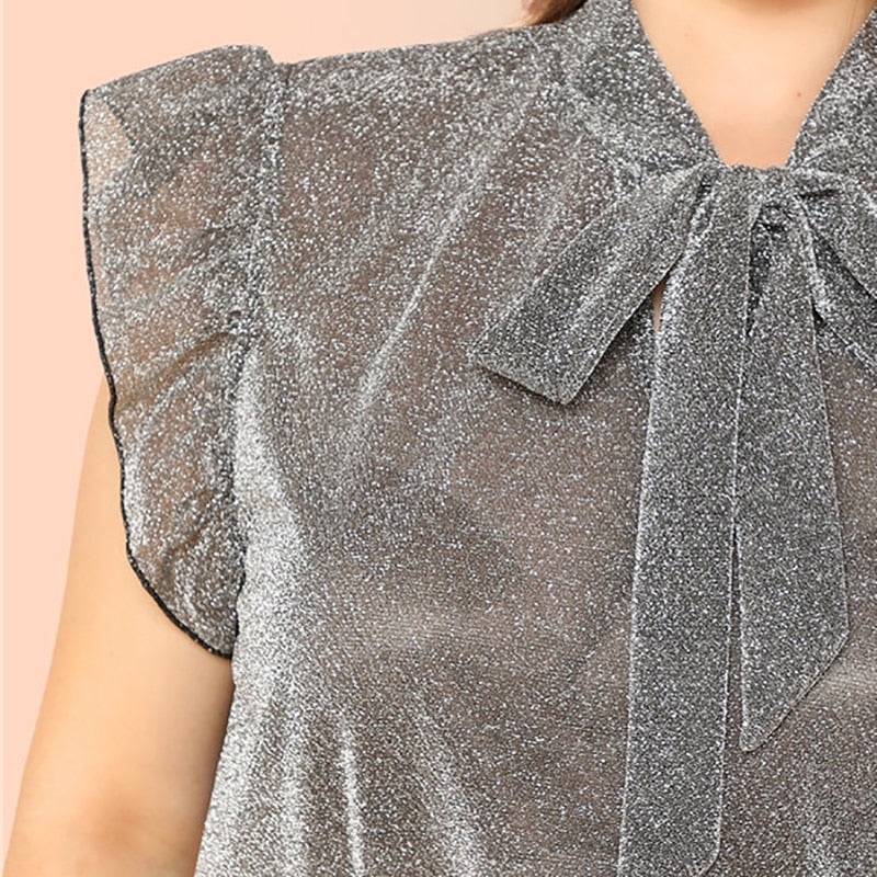 Grey Ruffle Trim Tie Neck Plus Size Women Thin Blouses