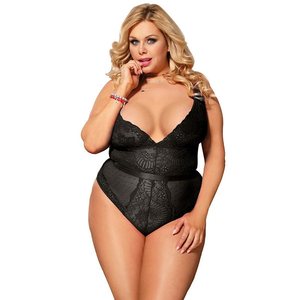 Women's  Plus Size 5XL Transparent V Neck Black BodySuit
