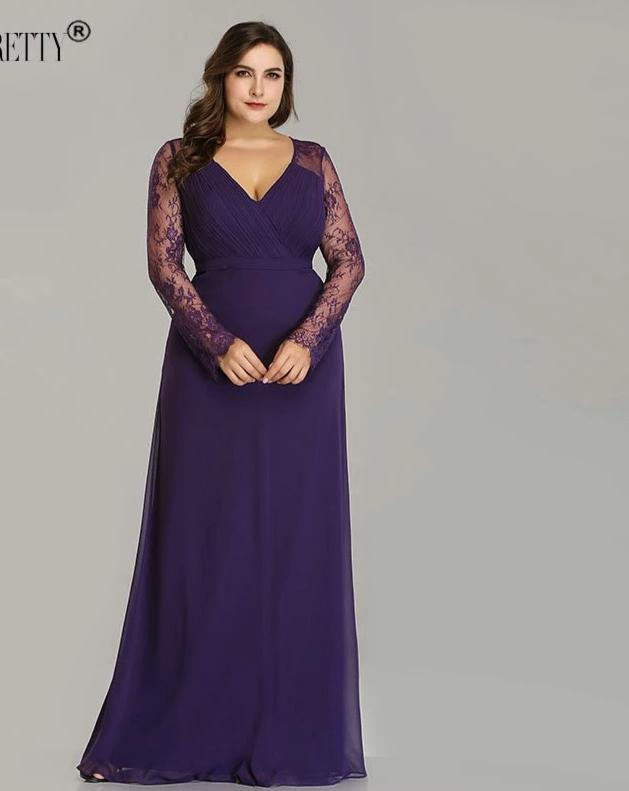 Elegant Plus Size Long Sleeve Lace A-line Chiffon Prom Dresses
