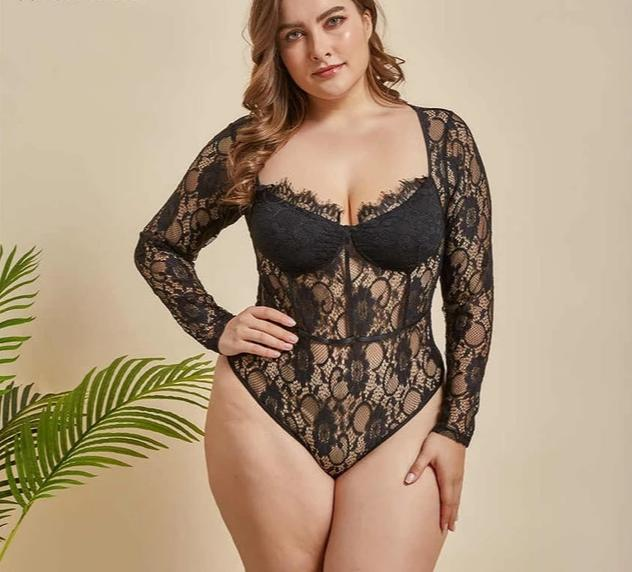 Plus Size Deep V Neck Embroidery  Long Sleeve Bodysuit