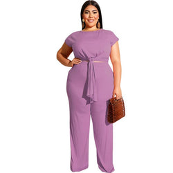 Plus Size  Short Sleeve Belt Crop Top And Straight Long Pants